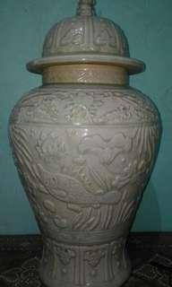 ANTIQUE, Green jar,    (fish & flower design)