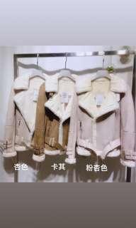 🚚 四色✨實拍羔羊QQ毛細毛麂皮保暖翻領帥氣騎士外套