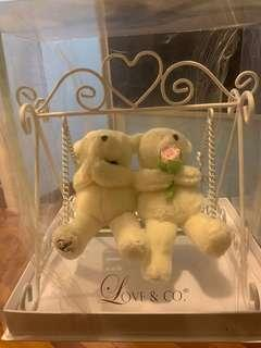 SELLING BNIB Love and Co Plush Bears on Swing / Ring Holder