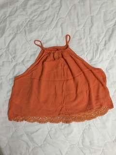 Boho Orange Halter Top (H&m)