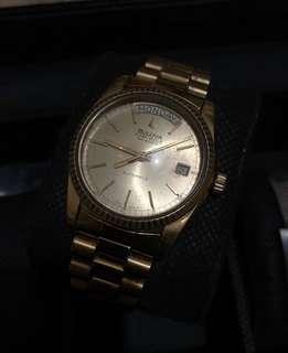 Bulove seville president mens gold watch rolex homage