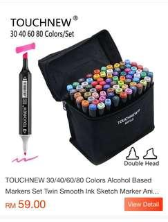 TOUCHNEW 80 Colors Alcohol Based Markers Set