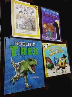 🚚 Children Books. Ronald dahl. Trex. Spongebob .clue school (with attached jig saw puzzle)