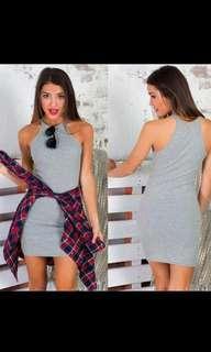 Grey Halter Cut In Dress