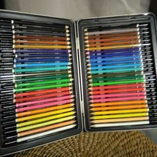 WHSmith Art Studio 25 Watercolour & 25 Colouring Pencil Set