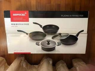 Brand New South Korea 4 Pcs + 2pcs Happy Calls Plasma IH Frying Pan, Grill Pan, Wok & Pot Plus Glass Lid