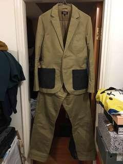 Izzue olive drab blazer and pants suits