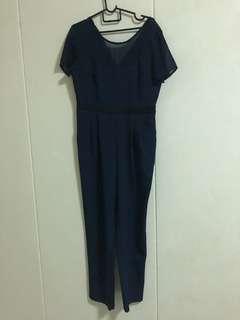 Mds navy plain jumpsuit