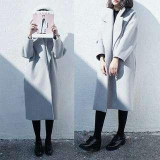 🚚 韓中長版繭型毛呢大衣