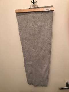Grey Knit Midi Pencil Skirt