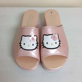 Hello Kitty 珍珠粉紅色 厚底 拖鞋 Sanrio 1997年 日本製 (全新 未用過)