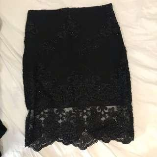 Lace Sequin Skirt