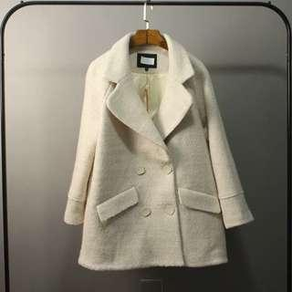 全新 實拍 加厚雙排扣羊毛呢外套