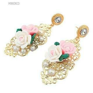 <In Stock> Korean Style Rose Gold Flower Pearl Earrings