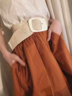 White Braided Belt, Tali Pinggang Kepang (Good)
