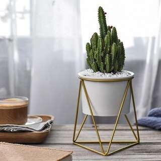 Geometric Iron Rack Holder Metal Stand Ceramic  Garden Pot