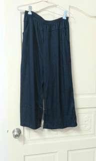 牛仔彈性寬褲