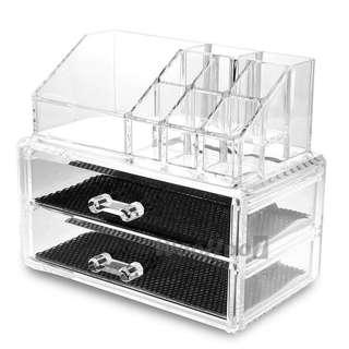 Clear Acrylic Cosmetic Makeup 2 Layer  Organizer