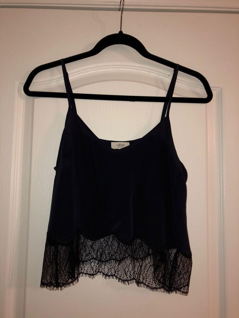 Aritzia Wilfred Lace Cami S (colour is dark navy/black)