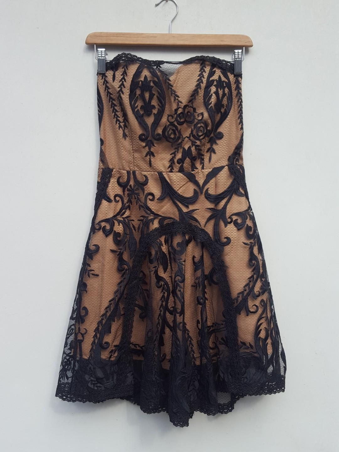 Black cream lace dress tube