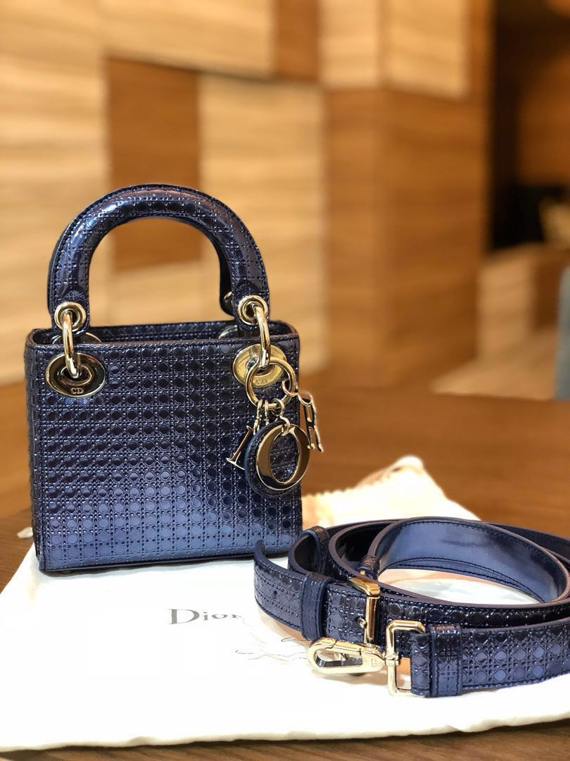 63c806bdd76 BNIB Christian Dior Micro Blue Metallic Calfskin , Luxury, Bags   Wallets,  Handbags on Carousell