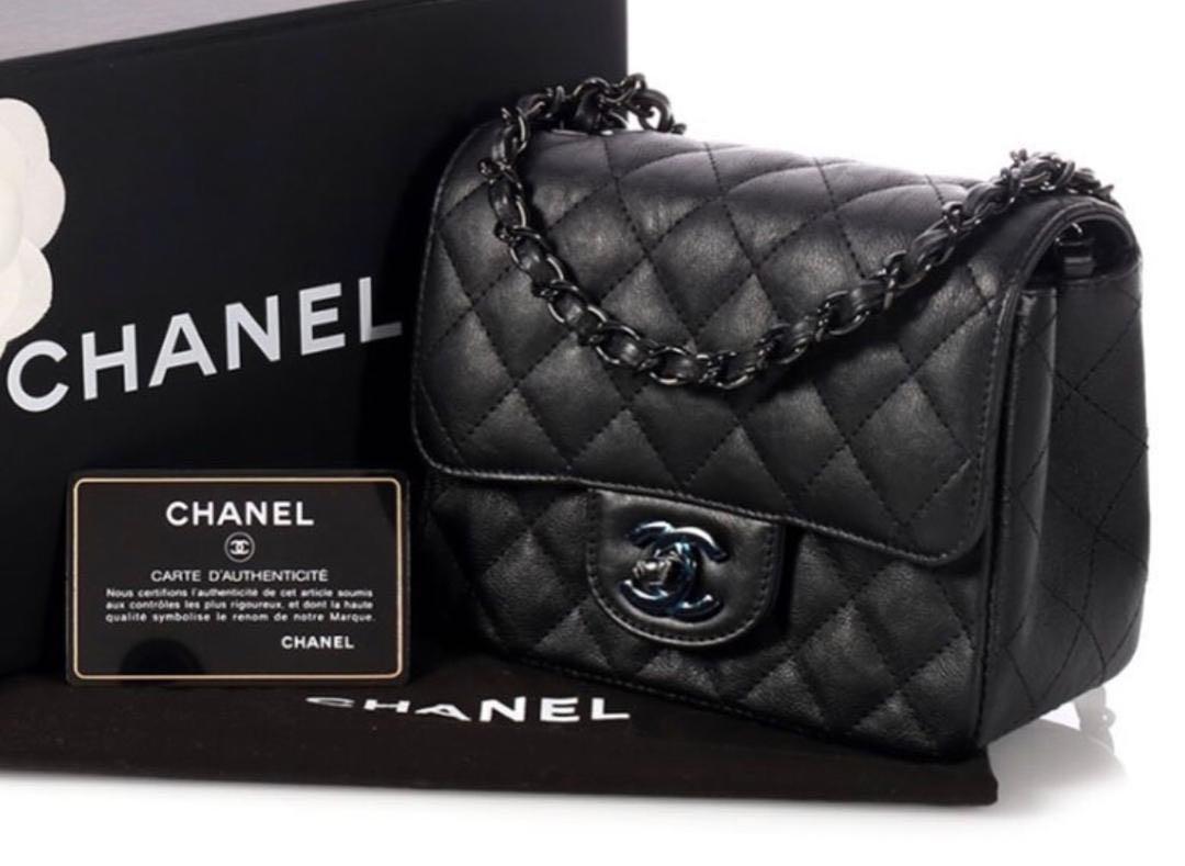 5b154c7f8fccd4 Chanel Mini Square Black Calfskin with So Black Hardware!, Luxury ...