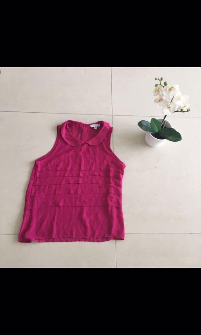 Cotton on magenta collared sheer blouse with layered detail