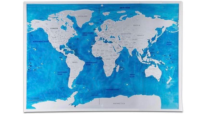 Deluxe ocean scratchmap blue and silver scratch map large ...