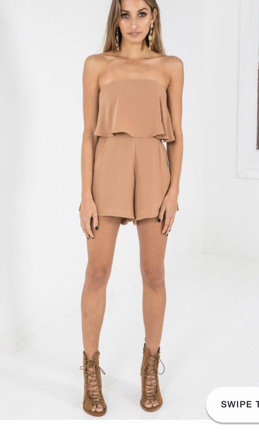 Dolly girl strapless playsuit/romper in brown/camel fits size 6-8