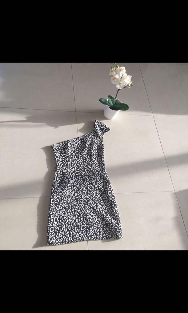 Forever 21, one shoulder black and white leopard print dress