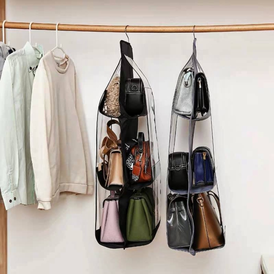 Hanging Handbag Organizer Dust-Proof Storage Holder Bag With 6 Larger  Pockets, Women's Fashion, Bags & Wallets, Others on Carousell