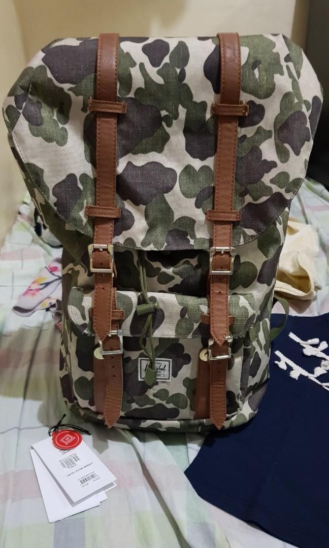 9c959b72b6c Herschel Little America Backpack Frog Camo Tan
