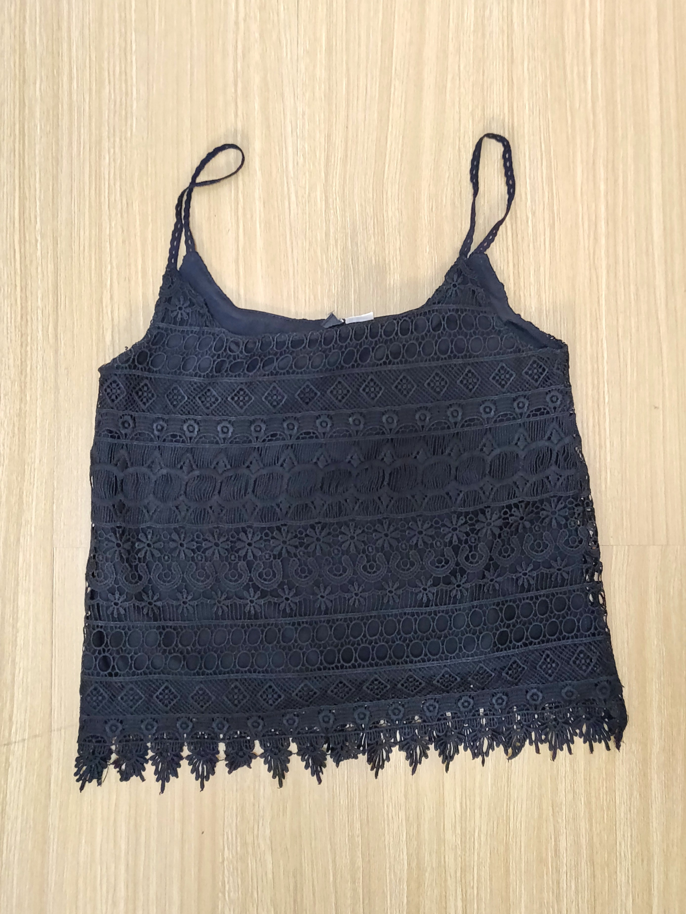 a66a8e59c3c3ea H&M black top with lace, Women's Fashion, Clothes, Tops on Carousell