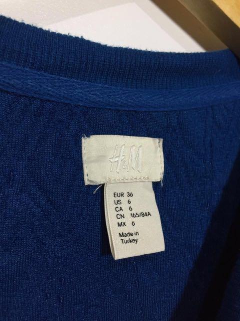 #onlinesale H&M Womens Blue greenish Textured Crewneck