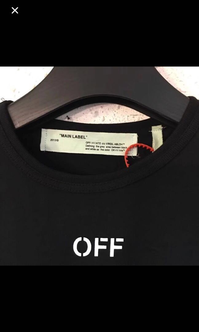 a1e92e4f in stock) Off White Tee, Men's Fashion, Clothes, Tops on Carousell