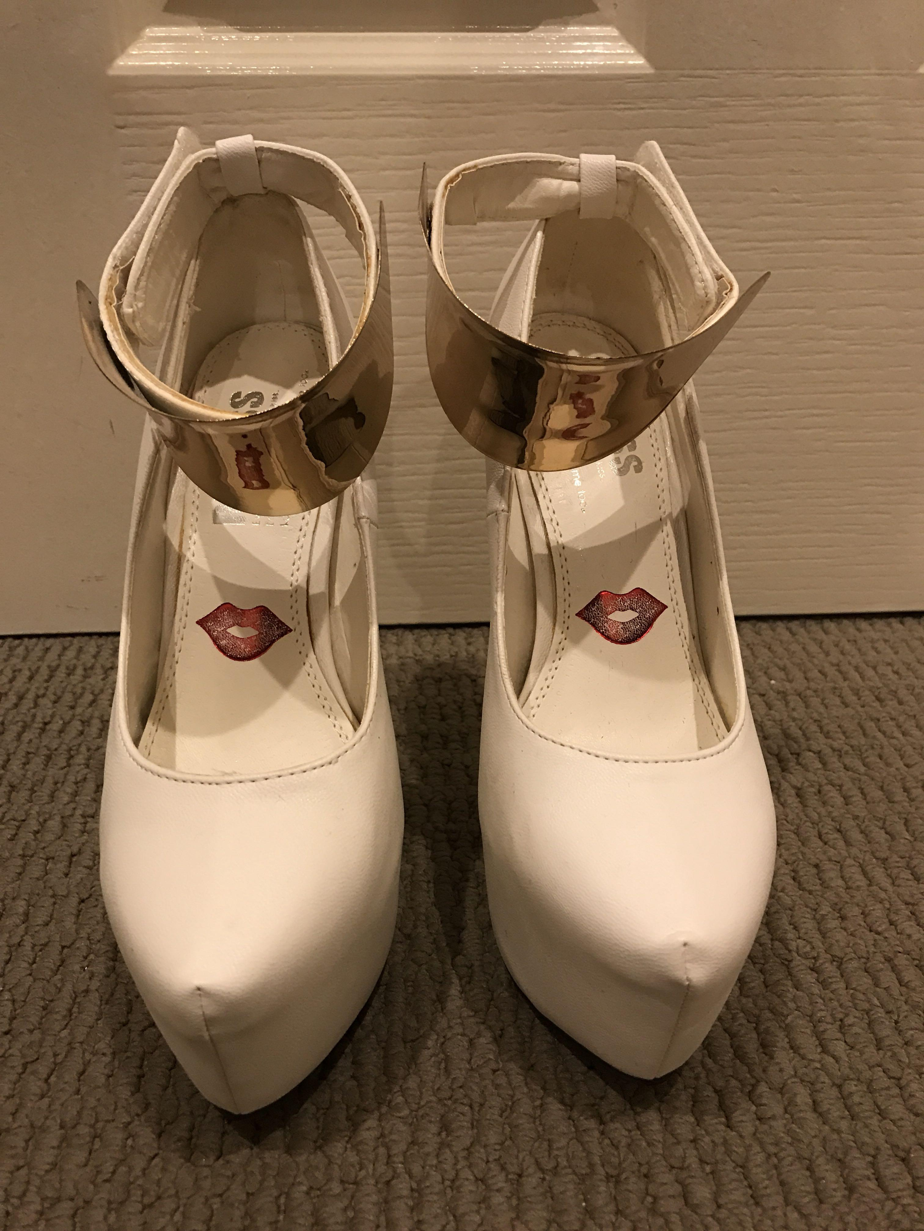 Kiss Kiss Nicole Stilettos with Gold Ankle Buckle - White