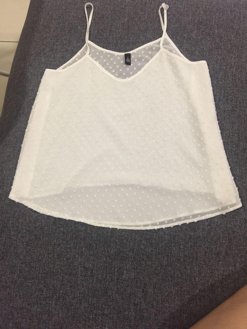 8371187fee16c4 Lazada White Spaghetti Strap Top, Fesyen Wanita, Pakaian, Tops di ...