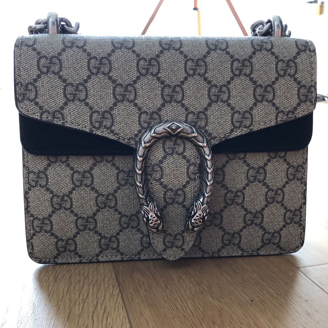 843710ad300906 LN Gucci Dionysus Mini Canvas & Black Suede, Luxury, Bags & Wallets ...