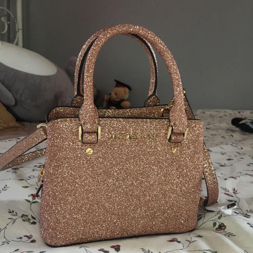 b99e7c732e28 Michael Kors Rose Gold Glitter Leather MICRO MINI Savannah Satchel ...