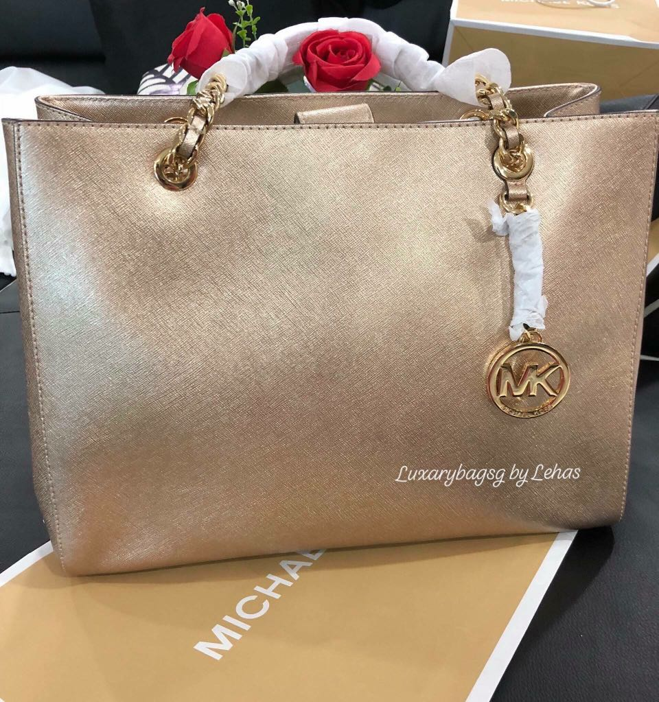 4a30d2accf5420 Michael Kors Susannah Large Saffiano Leather Tote Bag Pale Gold ...
