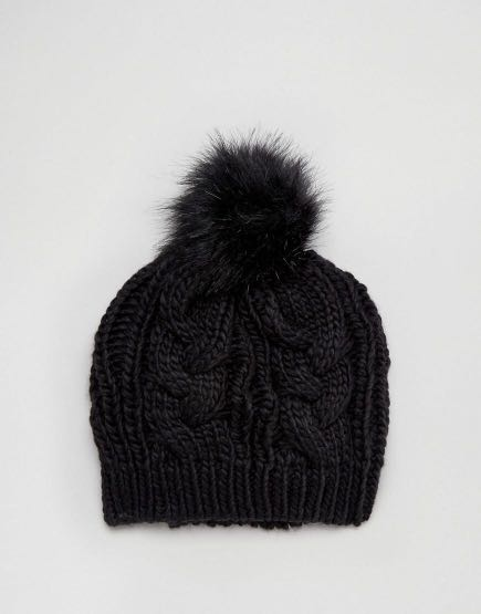5036f0107 New Look Faux Fur Pom Pom Bobble Hat