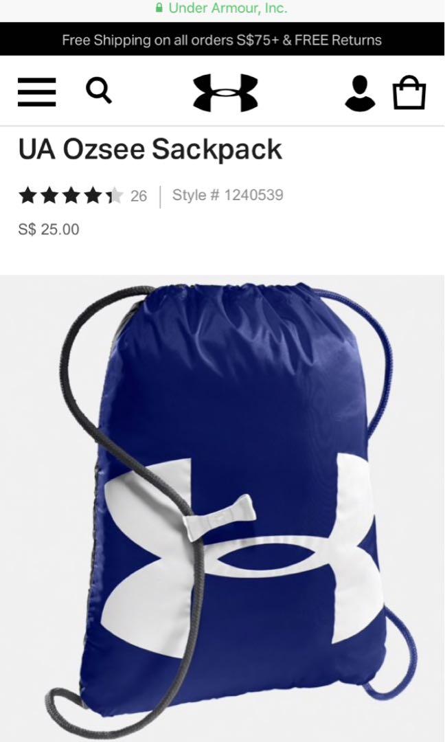 ec82b3d618e1 NEW Under Armour UA Ozsee Sackpack ( Blue )