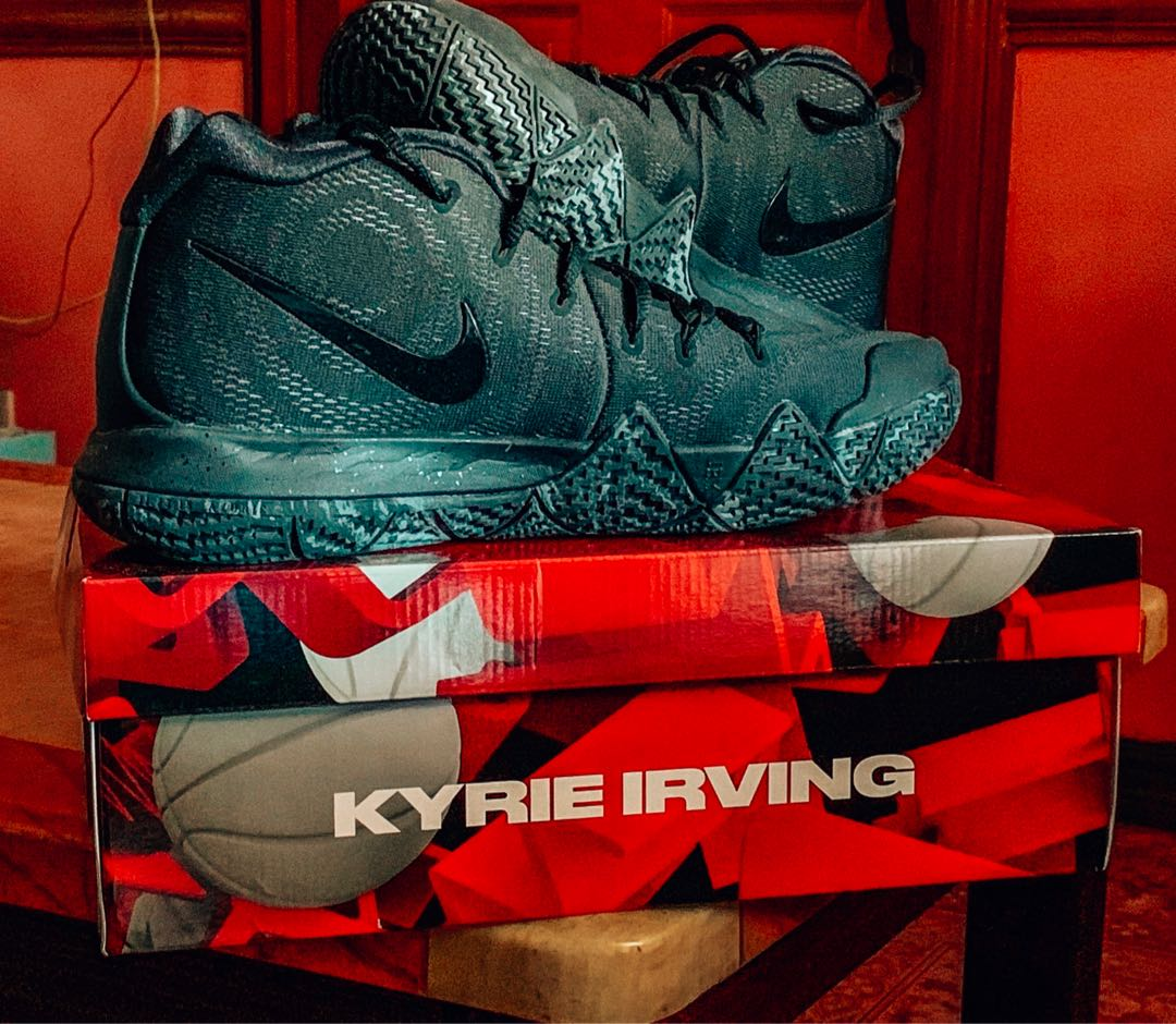 Nike Kyrie 4  Marble  Triple Black Basketball Shoes ab0c9c0a8