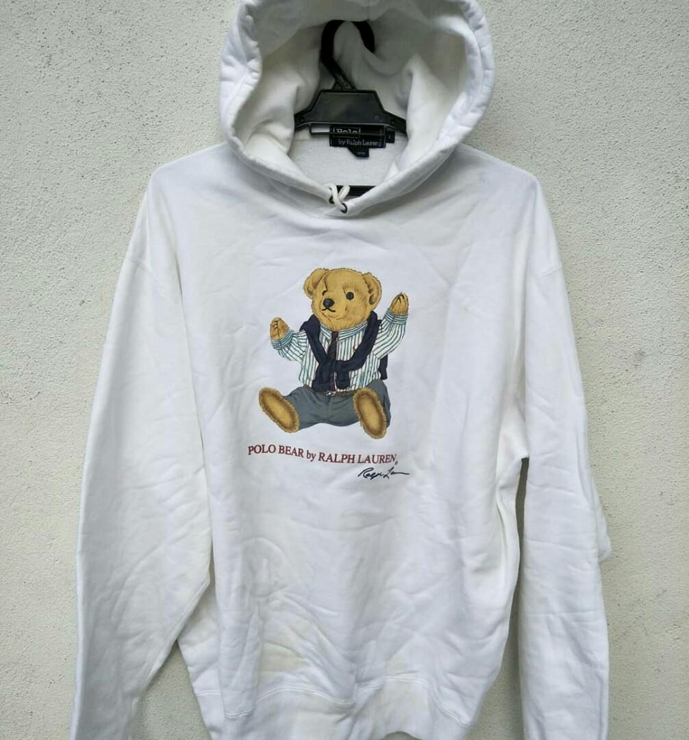 Ralph Hoodie Sweatshirt Polo Lauren Vintage Rare Bear cuT1J3lFK