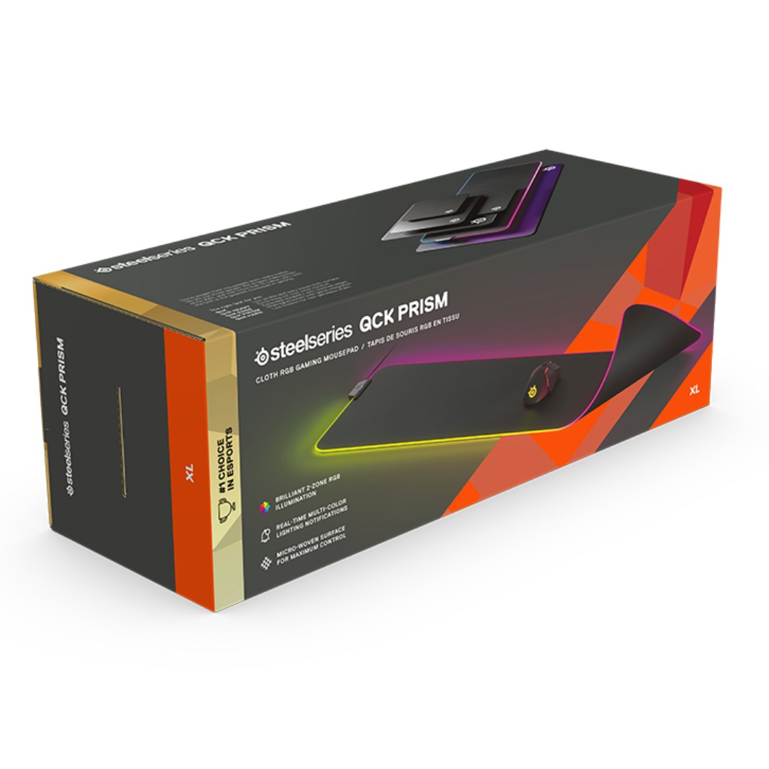 40cfa0c9fa7 Steelseries QCK Prism Cloth (XL - Extended) - Cloth RGB Gaming Mouse ...