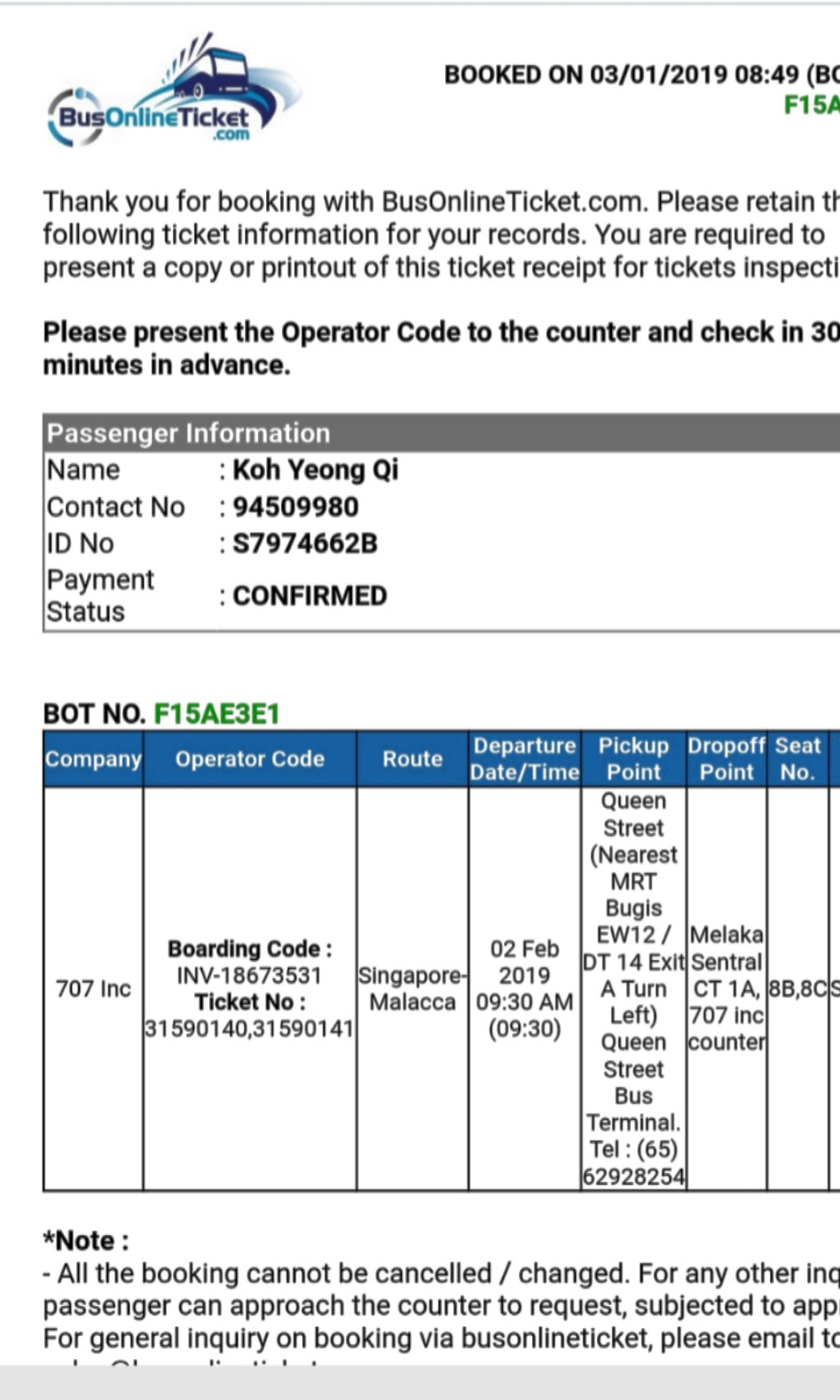 Ticket from SG to MALACCA