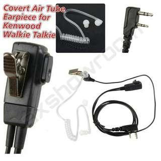 Covert Airtube Earpiece For Kenwood / Baofeng / TSSD / Retevis Walkie talkie radio. 2 Pin Jack.
