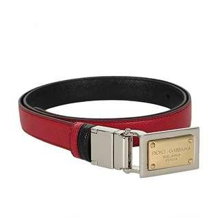 Dolce Gabbana D&G leather reversible belt black red authentic branded #cny888