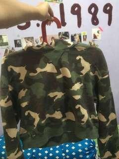 H&M Army Crop Hoodie