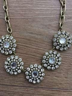JCrew Crystal and Gold Statement Necklace